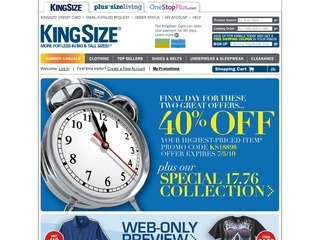 King size coupon codes